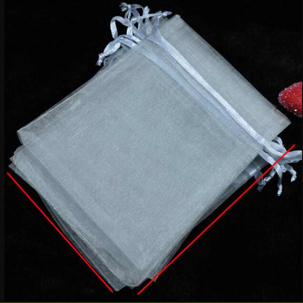 Rumah Tangga 100 Pcs/lot Sumber Daya Dapat Digambar Abu-abu Besar Kecil Organza Tas Pesta Pernikahan Natal Hadiah Casing Perhiasan Kemasan Tas Kantong