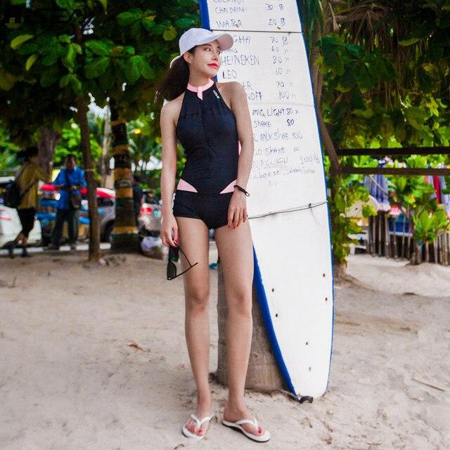 Hisea Women Rash Guard Lycra Sleeveless Elastic Swimsuit calico zipper Rashguards Surf Shirt Short Pants Swimming swimwear women