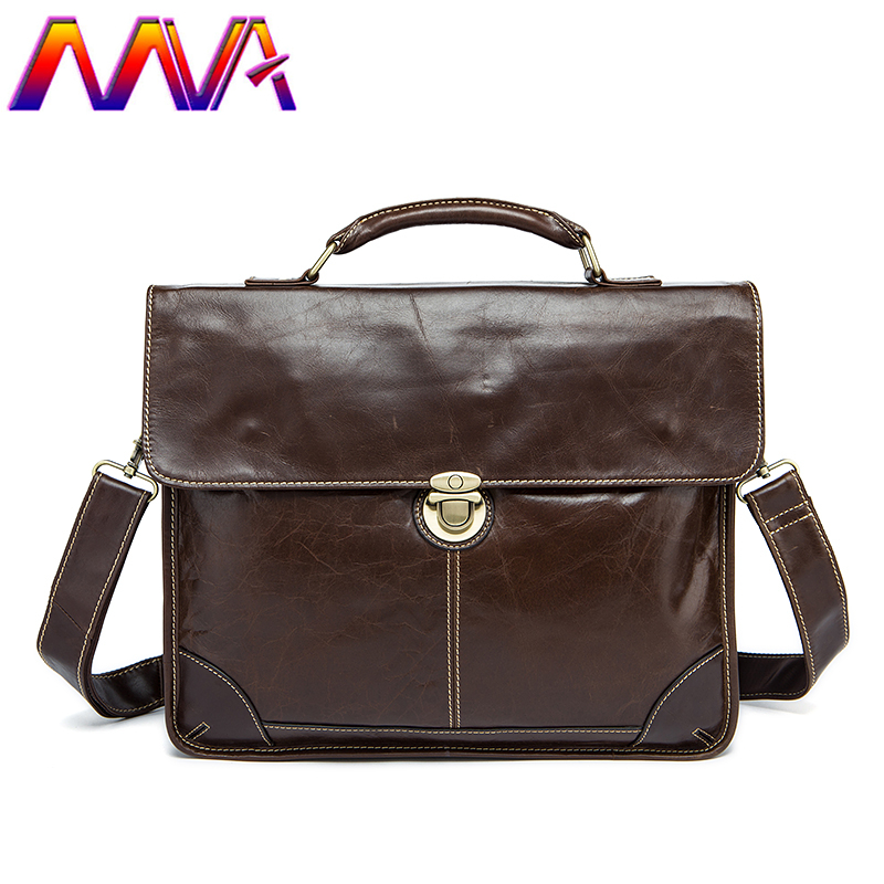 MVA Most Fashion genuine leather men briefcase for 14inch computer bag with cow leather laptop briefcase bag men shoulder bags стоимость