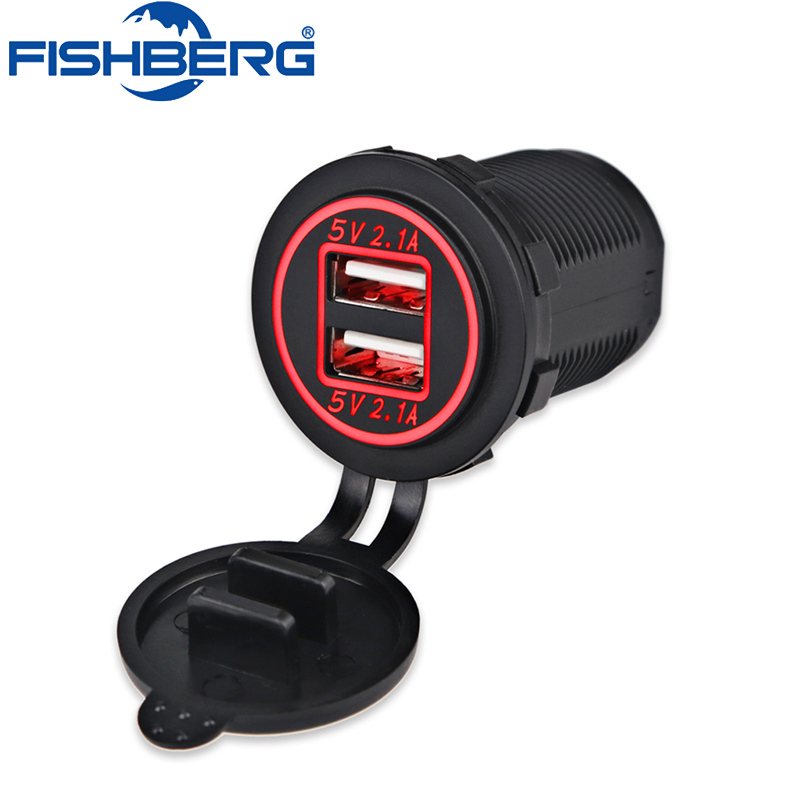12V Dual USB Charger Socket Waterproof Power Outlet 5V 2.1A & 2.1A Dual Ports Fast Charge Adapter for Car Boat Marine iPhone quick charge 3 0 dual usb ports car charger page 10