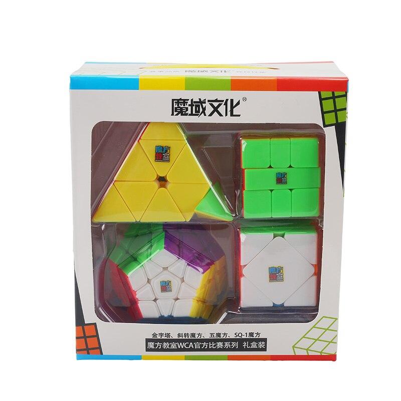 Moyu Cubo Pacote 2x2 3x3 4x4 5x5 Cubo de Velocidade Conjunto Jiaoshi Mofang cubo mágico MF2S MF3S MF4S MF5S Pacote Caixa de Presente do Enigma Brinquedo