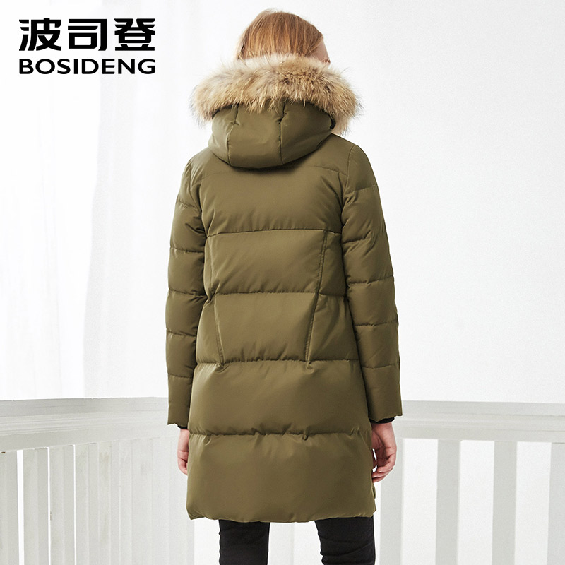 BOSIDENG women's casual thicken warm fashion down jacket female long large real fur collar down parka B70141110