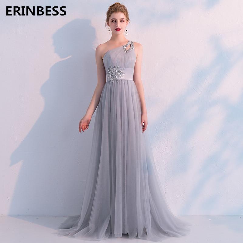 Vestidos De Festa Smoke Gray Tulle   Evening     Dress   Elegant Robe De Soiree One-Shoulder   Evening     Dresses   Long   Dress   Party Gowns 2019