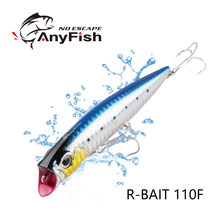ANYFISH WISE R-BAIT110F FISHING LURE MINNOW LENGTH:110MM WEIGHT:14.4G DEPTH:0.5-0.8m OWNER HOOKS design&developmented BY bassday(China)