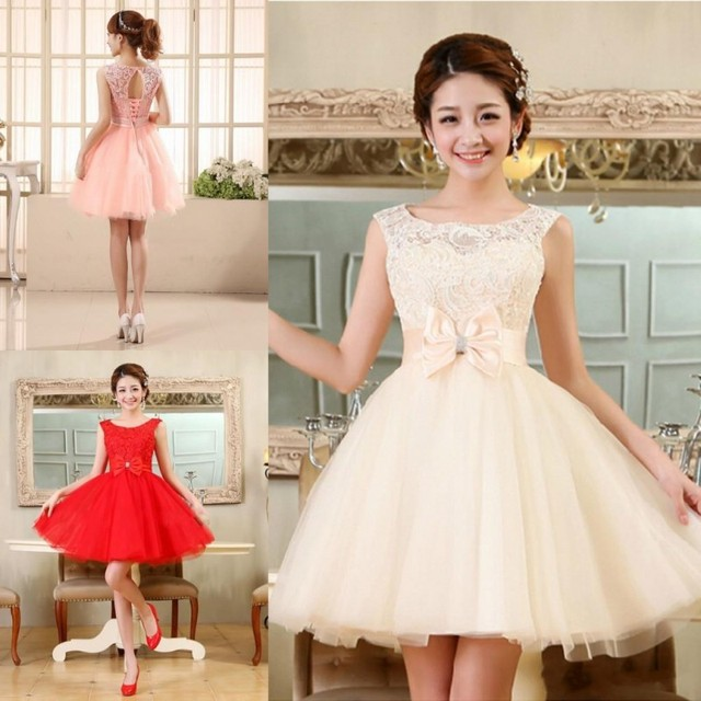 94df97634ca Tulle Lace Short Prom Dresses Evening Dress Girl Lovely Club Prom Party Gown  Bow Red Champagne Skin Pink Vestidos De Noche 2017