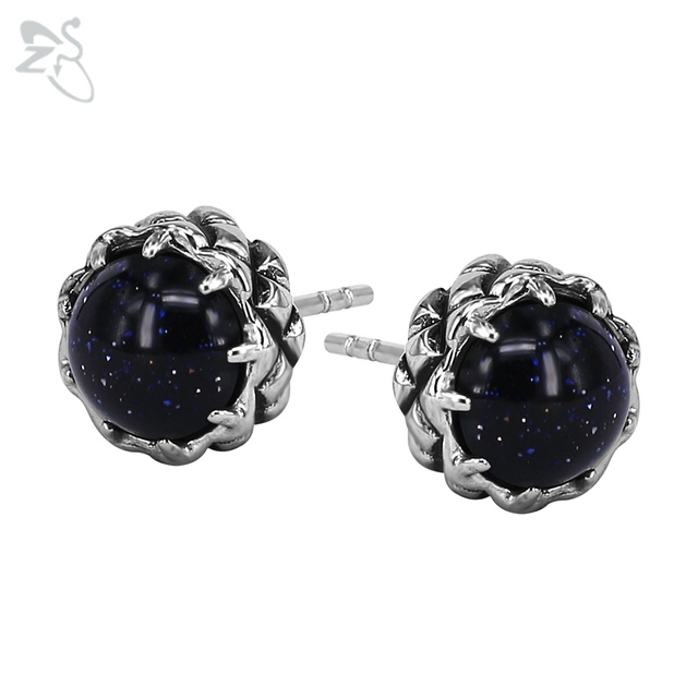 Navy Blue Stud Earring Fashion Style Piercing Ear Cartilage Round Crystal Earing Bride Party Jewelry For