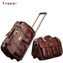 """20"""" inch PU Leather Luggage,Vintage Trolley Suitcase,brown boarding package,Unisex Business cabin Travel case,Caster Wheels Box"""