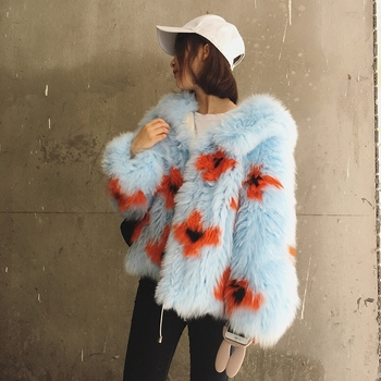 2016 New Arrival 100% Natural Fox Fur Knitted Coat With Hood,Women's Real Fox Fur Outerwear Hooded BE-1663 EMS Free Shipping 3