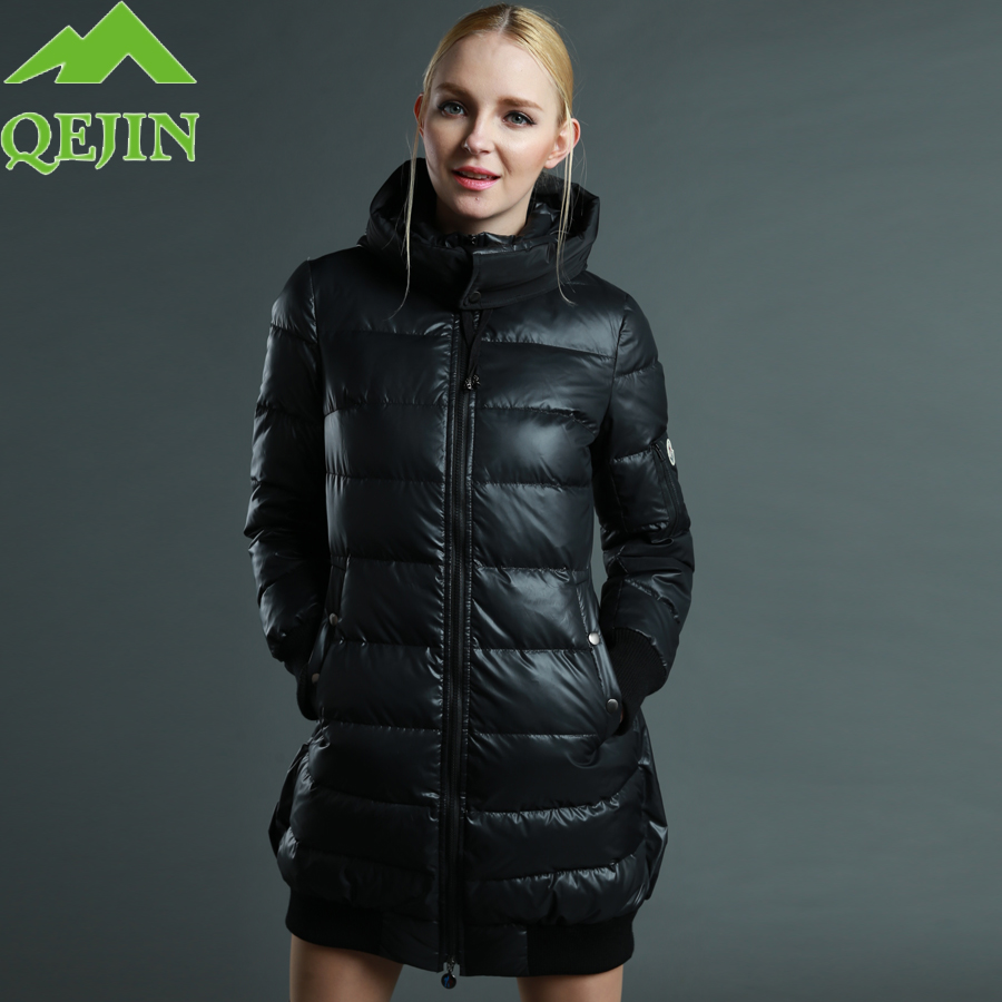 Winter women   down   Jacket 90% duck   down     coats   hooded-hat parkas thicken warm overcoat waterproof Fabric female outerwear Black