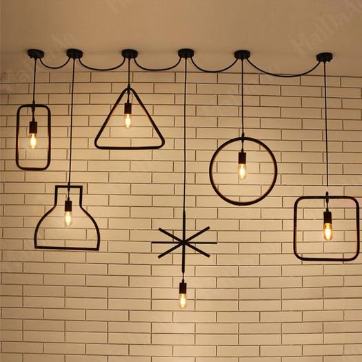 Korte loft Vintage E27 LED geometrische figuur hanglamp 1 stuks - Binnenverlichting