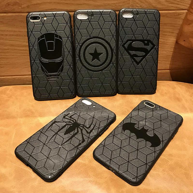 3D הבלטה מארוול נוקמי DC קומיקס מקרי טלפון עבור iPhone XS MAX XR X 10 6 6s 7 8 בתוספת funda רך הסיליקון כיסוי באטמן איש ברזל