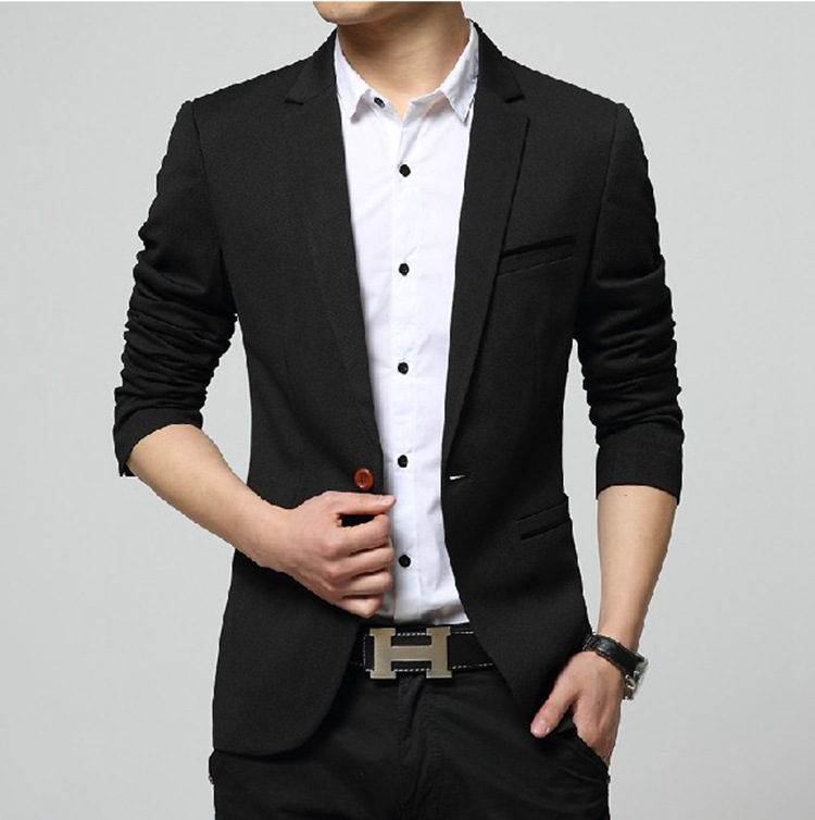 2020 Autumn New Men's Blazer Coat Business Casual Fashion Blue Slim Fit Suit Male Brand Clothing 3