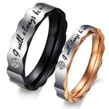 Hot New Fashion  Punk 316L Titanium Steel Rhinestone ring Wedding band rings Stainless Steel Couple ring