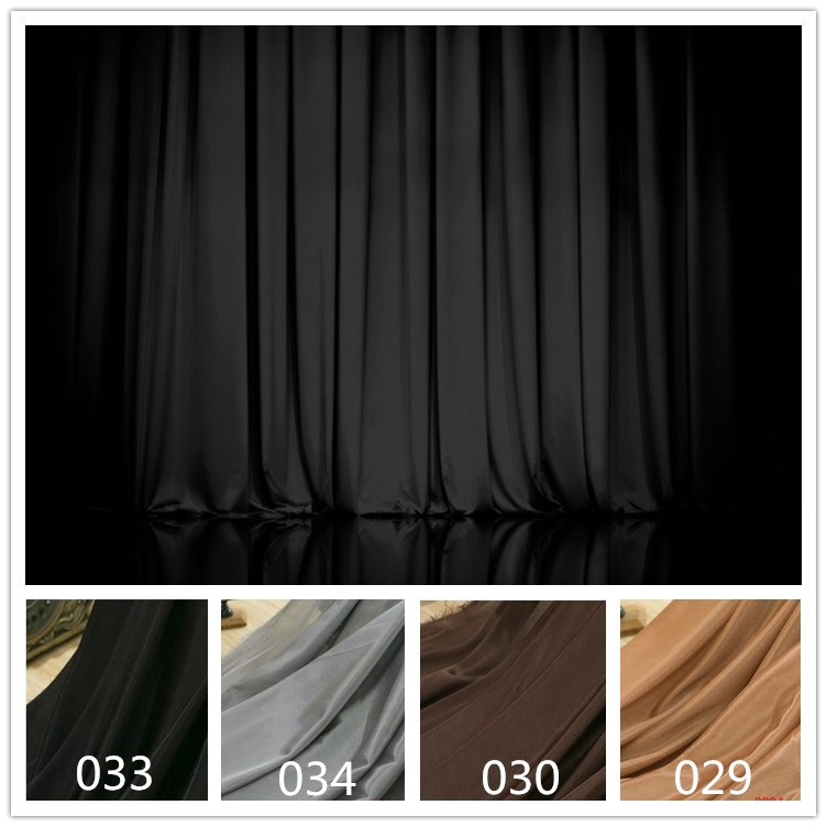 Synthetic Silk Satin Fabric for wedding birthday stage decoration Organza Fabric curtain Lining Cloth Black Gray Brown Color