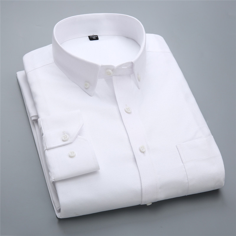 High Quality  New 100% Cotton Oxford Down Button Collar Long Sleeve Slim Fit Men Casual Solid Shirts
