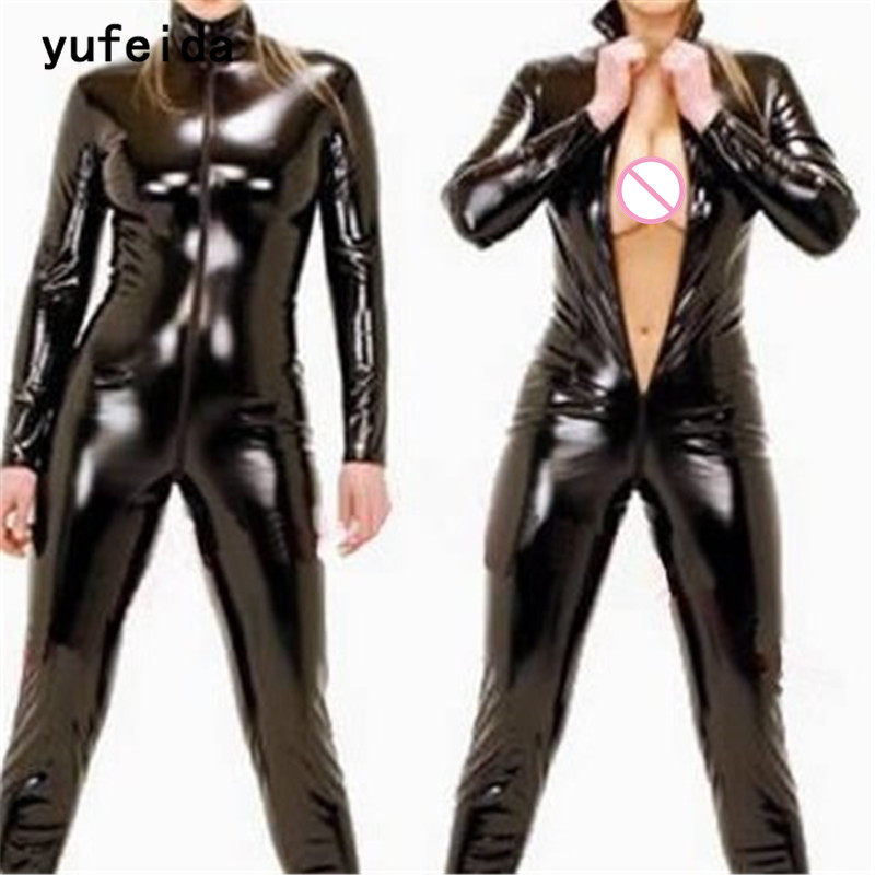 d8aed5f07e YUFEIDA Sexy Womens Sexy Clubwear Catsuit Jumpsuit Romper Faux Leather PU  Black Wetlook Shining Costume One