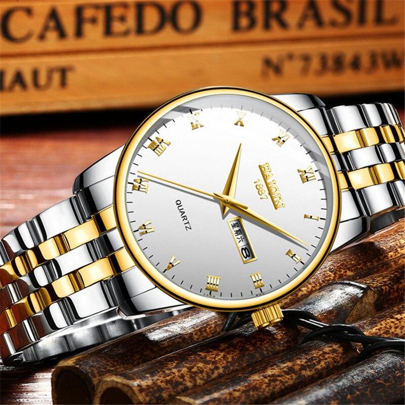 HAIQIN Mens Watches Top Brand Luxury Reloj Hombre Business Quartz Watch Men Military Sports Mesh Steel Clock Relogio Masculino