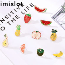imixlot 3 Pieces Brooch Set Colorful Fruits Creative Randomly Send Lapel Pins Suits Sweater Girls Boys Ornaments(China)