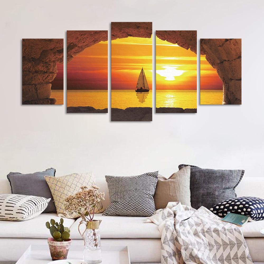 5Piece/Set Beach Scenery Sunset Sailing Canvas Decorative Painting ...