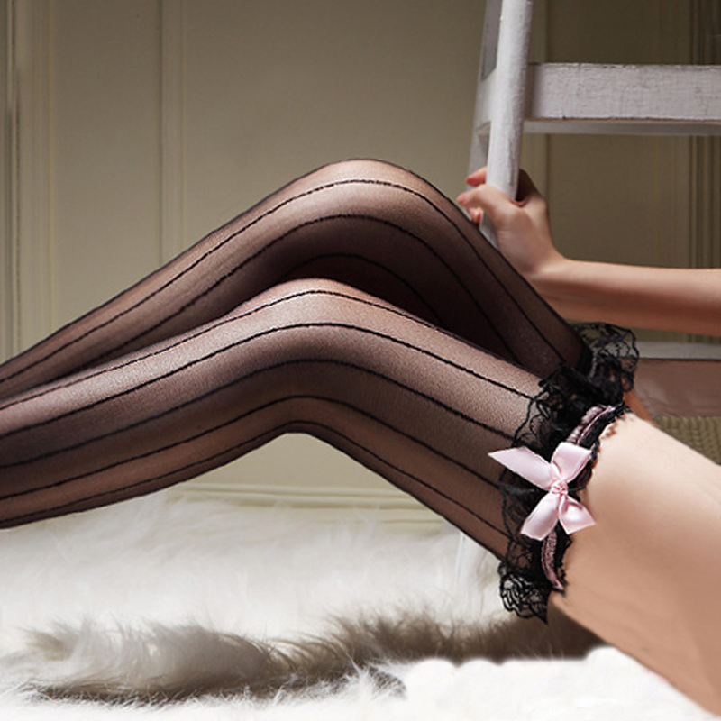 Thin Black Vertical Stripes Women Lace Stockings Back Seam Female Sexy Stockings Thigh Long Stockings Bow Lace Sexy Lingerie 005