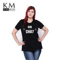 Kissmilk 2017 New Women Plus Size Clothing Solid Black Short Sleeves Casual Letter Printing Tops Big