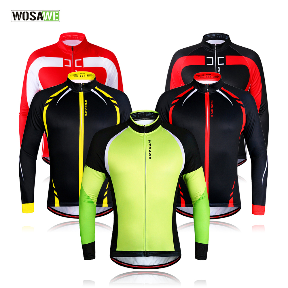 WOSAWE Men Winter Thermal Fleece MTB Bike Bicycle Cycling Jersey Outdoor Sport Running Jacket Coat Cycling Clothing