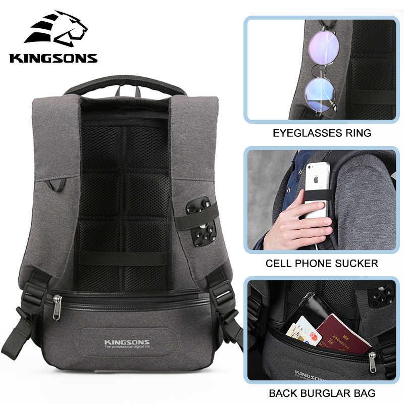 """Kingsons אופנה תרמיל גברים תרמיל חדש 13 """"15"""" Backbag מוצ 'ילאס זכר תרמיל מחשב נייד נגד גניבת מנעול bagpack בית ספר תיק"""