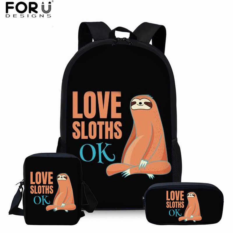 e28373d13 FORUDESIGNS mochilas escolares para niñas adolescentes divertidas mochilas  escolares con estampado de pereza para niños bolsas escolares ...