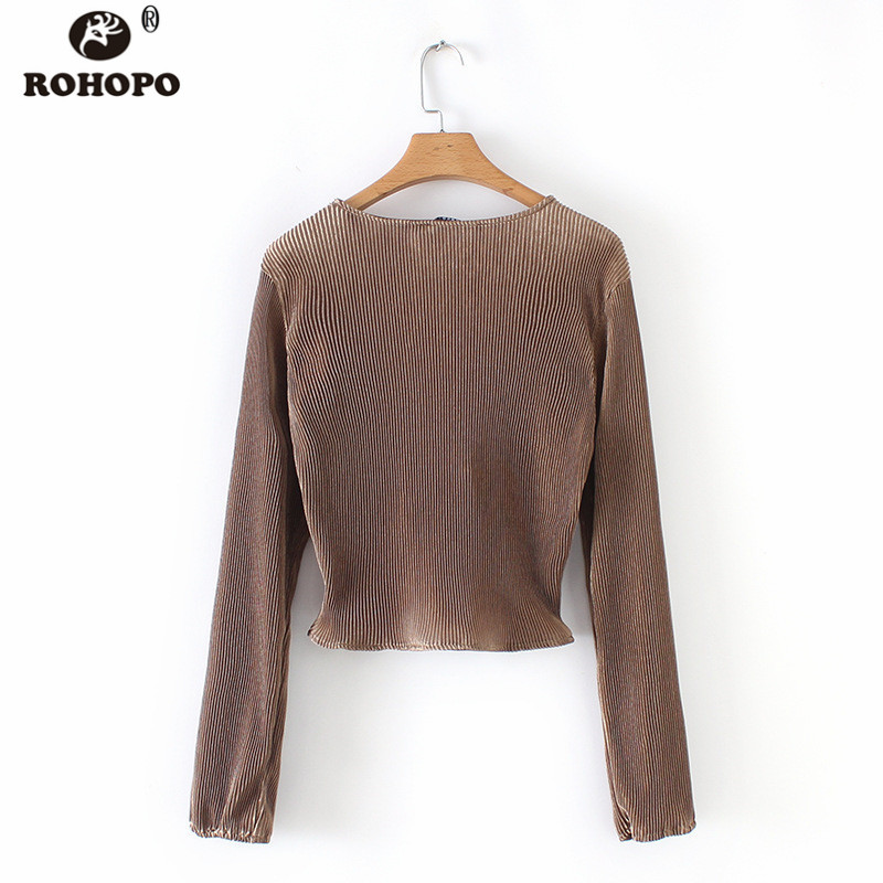 ROHOPO Autumn Coffee Long Sleeve Tie Fly Crop Top Blouse Female Tunic V Neck Elegant Pullover Top Shirt HY8657 in Blouses amp Shirts from Women 39 s Clothing