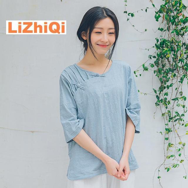 c4f3a12406df LIZHIQI Cotton women tops vintage Three quarter sleeve slanting lapel plate  buttons t-shirt female women clothes blue white
