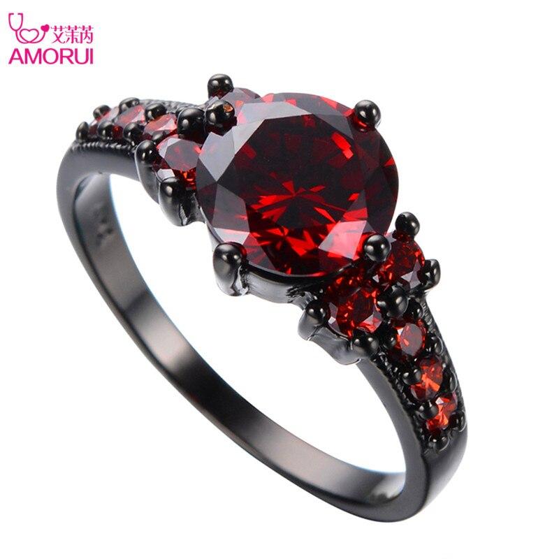 Amorui vendimia negro oro color rojo granate Anillos para las mujeres boda joyería Anel aneis Anillo del Partido de compromiso bijoux Femme regalo