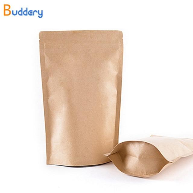 Craft Brown Paper Tea Bags 11 Size Stand Up Zipper Zip Lock Kraft Gift
