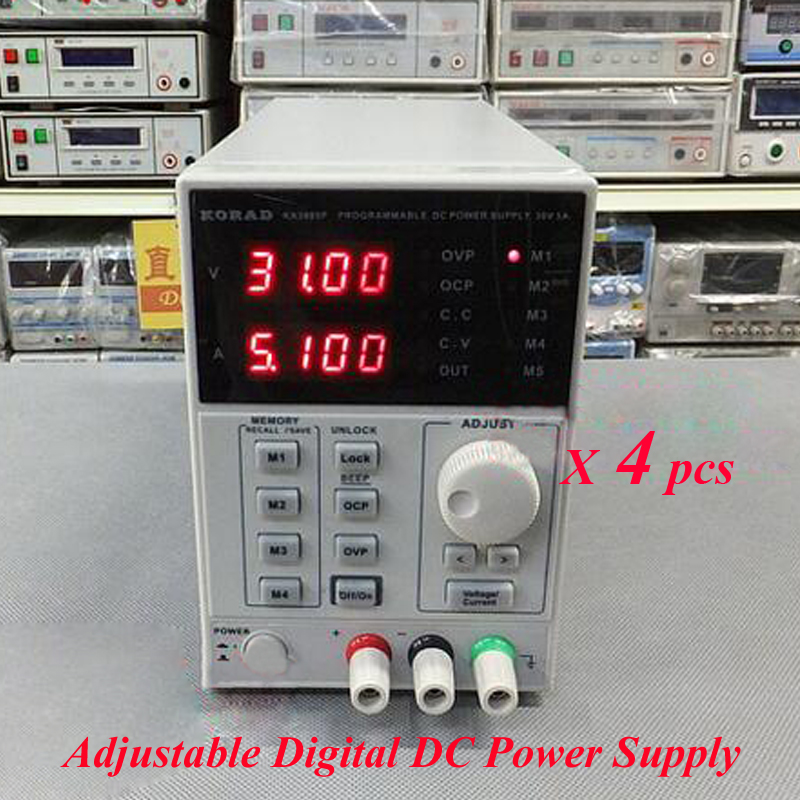 4pcs/lot High Precision Adjustable Digital DC Power Supply mA 0~30V 0~5A for scientific research service Laboratory KA3005D