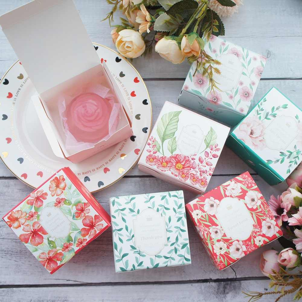 new 10pcs spring flower Paper Box as soap candle Cookie Candy little Gift Packaging Christmas Wedding Favors Gifts Decoration