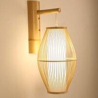 Japanese Retro E27 LED Wall Light , Vintage 1 Light Bamboo Wicker Rattan Lantern Wall Sconce Lamp Bedside Light Home Art Decor
