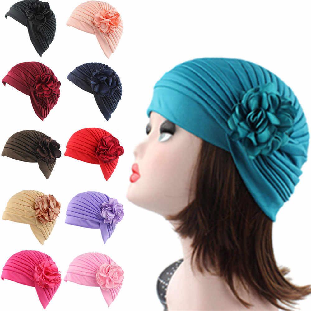 8c732b39281d8 High Quality Women Flower Indian Stretch Turban Hat Ch emo Cap Hair Scarf  Headwrap female beret