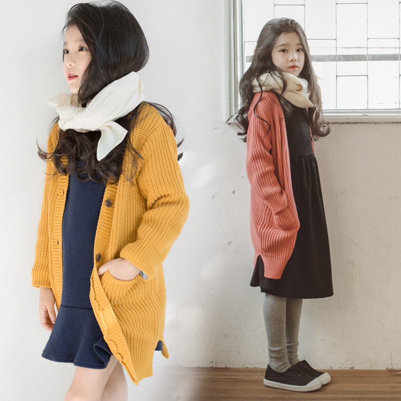 long knitted girls cardigan sweater pockets knit long sleeve kids coats for girls spring autumn yellow red kids clothing 2018 plus size pockets chunky knit long ope front slit cardigan