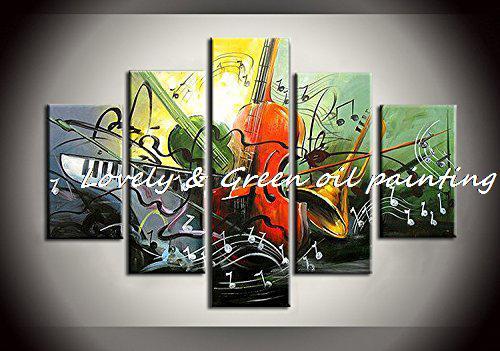Livraison gratuite peinture à la main 5 pièce peinture à l'huile abstraite instrument de musique papillon art mural décoration de la maison/pas encadré