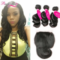 7A Brazilian Loose Wave With Closure Brazilian Virgin Hair Loose Wave 3 Bundles With Lace Closure Brazilian Human Hair Extension