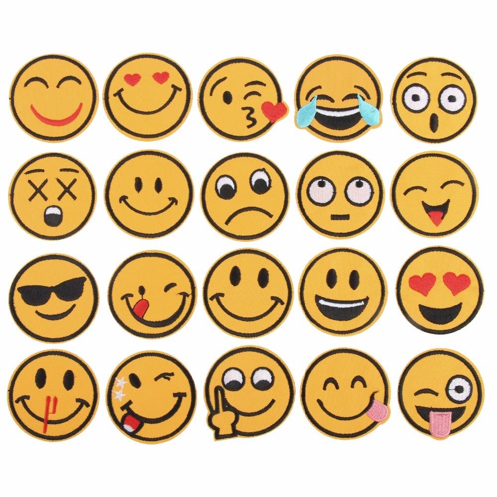 20Pcs / Set Emoji Mixte De Fer sur Des Patchs De Broderie Pour Vêtements Jeans Veste Enfants Patchs Stripes Autocollants Pour La Décoration De Vêtements