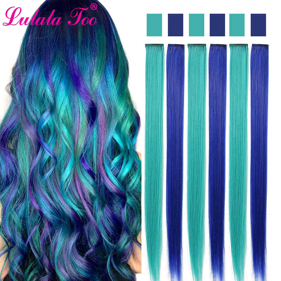 Single Clip In One Piece Hair Extensions 50Cm 20inch Long Straight Heat Resistant Synthetic Hairpieces Pink Green Hair Pieces