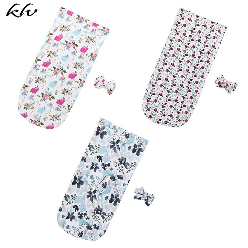 2 Pcs/Set New Newborn Baby Infant Child Sleeping Bag Fashion Printed Flower Color Cute Anti Kick Swaddle Blanket Wrap