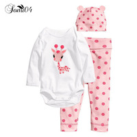 2017 Hot Newborn Baby Boy Clothes Romper Hat Pants 3 Pcs Infant Baby Girl Clothes Babies