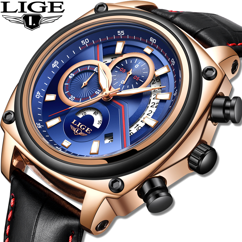 New LIGE Men Watch Casual Fashion Top Luxury Brand Watches Mens military Sport Waterproof Leather Wristwatch Reloj Hombre 2018 все цены