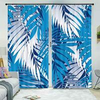 Blue and white leaves of tropical plants 3D Curtains For Bedroom Kids Living Room Drapes Fabric Polyester Set with Hooks