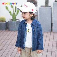 WOTTAGGA 2019 Boy Casual Blue Jean Soft Denim Long Sleeve Shirt Tops Blouse Jacket Classic Lapel Tops Jacket