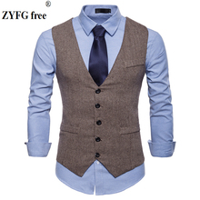 цена Fashion Design Men s Suit Vest New wool Cotton slim fit  Dress vest Mens Business Casual suit vests large size for men онлайн в 2017 году