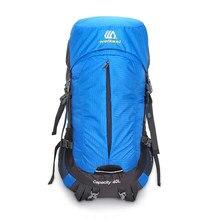 b7db7db17d7d8 40 + 10L Wandern Rucksack Außen Taschen Wasserdichte Camping Rucksack Reise  Daypack Klettern Rucksack mit Regen