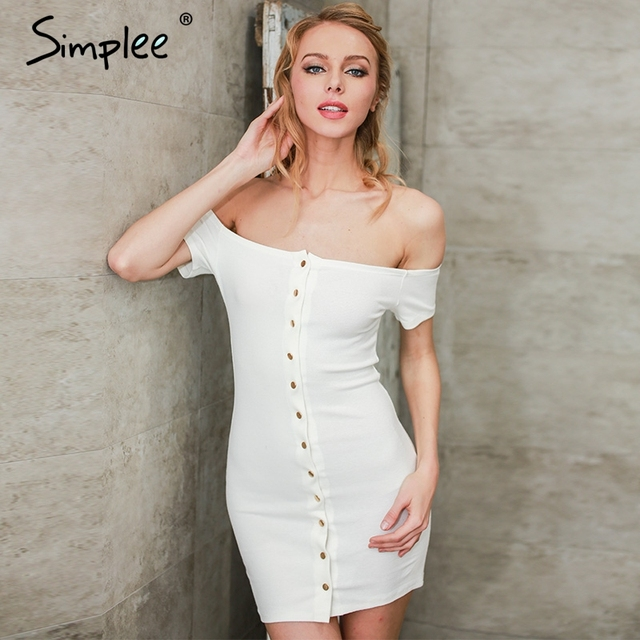 Simplee Vintage cotton short women dress shirt  Off shoulder backless summer dress Bodycon button white dresses vestido de festa