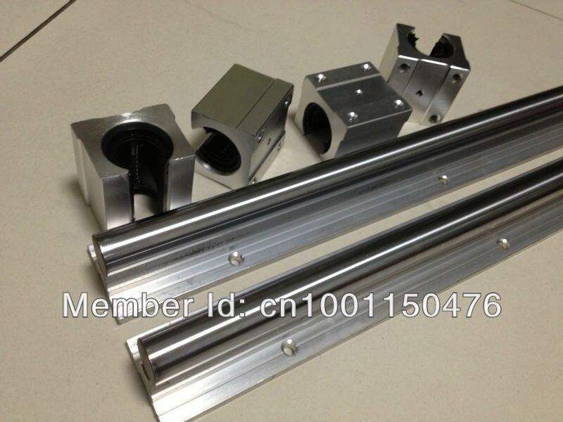 Envío gratuito: 2 unids SBR16 guías lineales L 1000mm soporte lineal de eje de carril + 4 unids SBR16UU rodamiento lineal bloques - 3